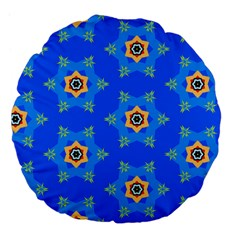 Pattern Backgrounds Blue Star Large 18  Premium Flano Round Cushions