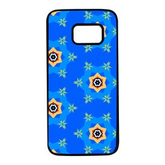 Pattern Backgrounds Blue Star Samsung Galaxy S7 Black Seamless Case by HermanTelo