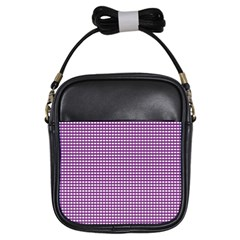 Gingham Plaid Fabric Pattern Purple Girls Sling Bag by HermanTelo