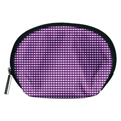 Gingham Plaid Fabric Pattern Purple Accessory Pouch (medium)
