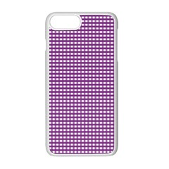Gingham Plaid Fabric Pattern Purple Iphone 8 Plus Seamless Case (white)