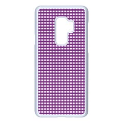 Gingham Plaid Fabric Pattern Purple Samsung Galaxy S9 Plus Seamless Case(white)