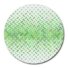 Green Pattern Curved Puzzle Round Mousepads