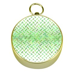 Green Pattern Curved Puzzle Gold Compasses by HermanTelo