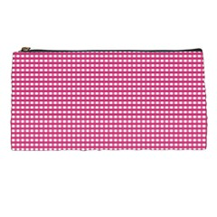 Gingham Plaid Fabric Pattern Pink Pencil Cases