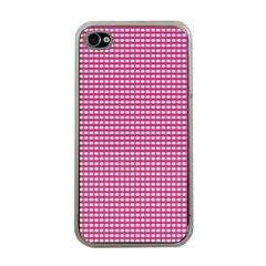 Gingham Plaid Fabric Pattern Pink Iphone 4 Case (clear) by HermanTelo