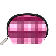 Gingham Plaid Fabric Pattern Pink Accessory Pouch (small) by HermanTelo