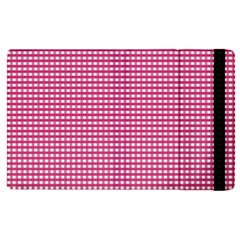 Gingham Plaid Fabric Pattern Pink Apple Ipad Pro 12 9   Flip Case