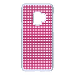 Gingham Plaid Fabric Pattern Pink Samsung Galaxy S9 Seamless Case(white) by HermanTelo