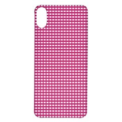 Gingham Plaid Fabric Pattern Pink Iphone X/xs Soft Bumper Uv Case