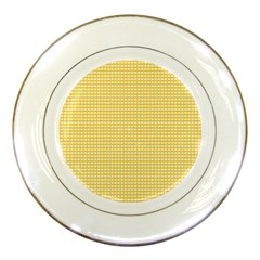 Gingham Plaid Fabric Pattern Yellow Porcelain Plates