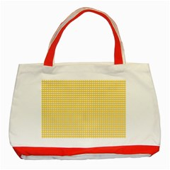 Gingham Plaid Fabric Pattern Yellow Classic Tote Bag (red) by HermanTelo