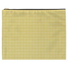 Gingham Plaid Fabric Pattern Yellow Cosmetic Bag (xxxl) by HermanTelo