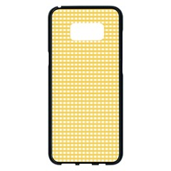 Gingham Plaid Fabric Pattern Yellow Samsung Galaxy S8 Plus Black Seamless Case by HermanTelo