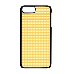 Gingham Plaid Fabric Pattern Yellow Iphone 8 Plus Seamless Case (black)