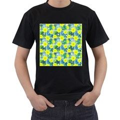 Narcissus Yellow Flowers Winter Men s T Shirt (black) (two Sided)