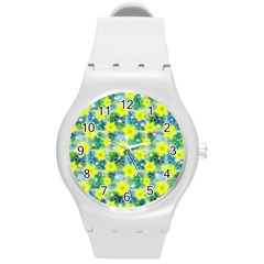 Narcissus Yellow Flowers Winter Round Plastic Sport Watch (m)
