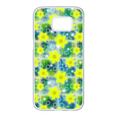 Narcissus Yellow Flowers Winter Samsung Galaxy S7 Edge White Seamless Case by HermanTelo