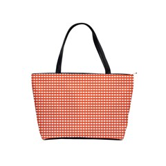 Gingham Plaid Fabric Pattern Red Classic Shoulder Handbag by HermanTelo