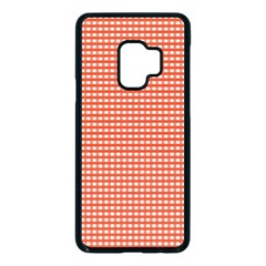 Gingham Plaid Fabric Pattern Red Samsung Galaxy S9 Seamless Case(black) by HermanTelo