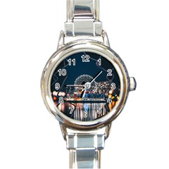 Silver Dome Round Italian Charm Watch