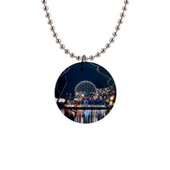 Silver Dome 1  Button Necklace by Pakrebo