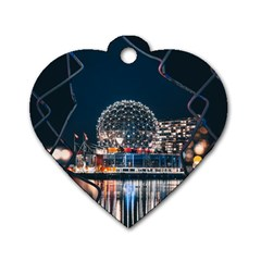 Silver Dome Dog Tag Heart (two Sides)