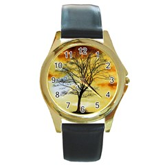 Branches Dawn Dusk Fall Round Gold Metal Watch