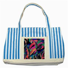 Tropical Leaves Resize 2000x2000 Same A3580b Striped Blue Tote Bag by Sobalvarro