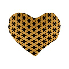 Gold Black Star Standard 16  Premium Heart Shape Cushions by AnjaniArt