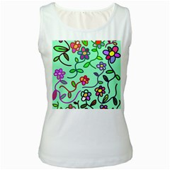 Flowers Floral Plants Women s White Tank Top by Bajindul