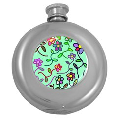 Flowers Floral Plants Round Hip Flask (5 Oz) by Bajindul