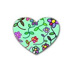 Flowers Floral Plants Heart Coaster (4 Pack)