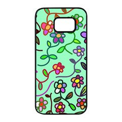 Flowers Floral Plants Samsung Galaxy S7 Edge Black Seamless Case by Bajindul