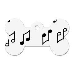 Piano Notes Music Dog Tag Bone (two Sides)