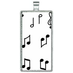 Piano Notes Music Rectangle Necklace
