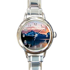 Tree Near Mountain Range Round Italian Charm Watch
