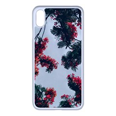 Red Petaled Flowers Iphone Xs Max Seamless Case (white)
