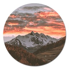 Scenic View Of Snow Capped Mountain Magnet 5  (round)