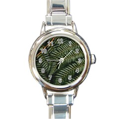 Green Leaves Photo Round Italian Charm Watch