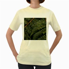 Green Leaves Photo Women s Yellow T Shirt