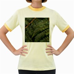 Green Leaves Photo Women s Fitted Ringer T Shirt