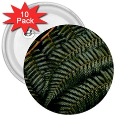Green Leaves Photo 3  Buttons (10 Pack)