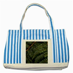 Green Leaves Photo Striped Blue Tote Bag