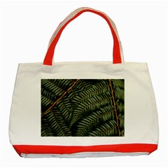 Green Leaves Photo Classic Tote Bag (red)