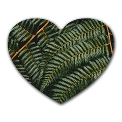 Green Leaves Photo Heart Mousepads