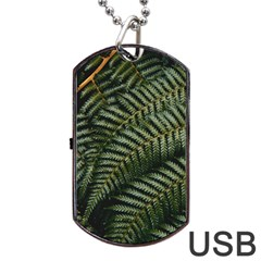 Green Leaves Photo Dog Tag Usb Flash (one Side)