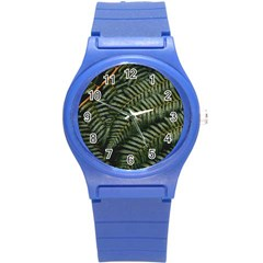 Green Leaves Photo Round Plastic Sport Watch (s)
