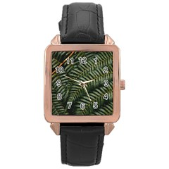 Green Leaves Photo Rose Gold Leather Watch