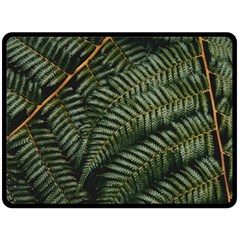 Green Leaves Photo Double Sided Fleece Blanket (large)